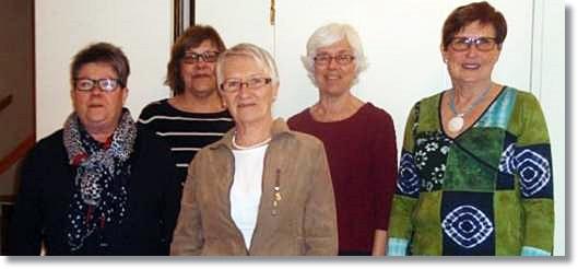 Från vä: Laila, Eva, Gudrun, Suzanne och Lise-Lotte. Gunilla och Solveig saknas på bilden.